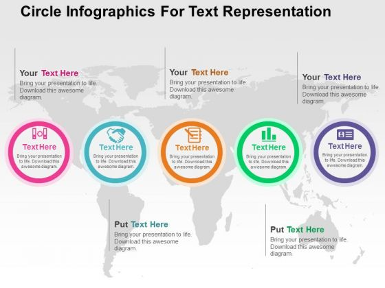 Circle Infographics For Text Representation PowerPoint Templates