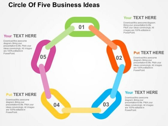 Circle Of Five Business Ideas PowerPoint Templates