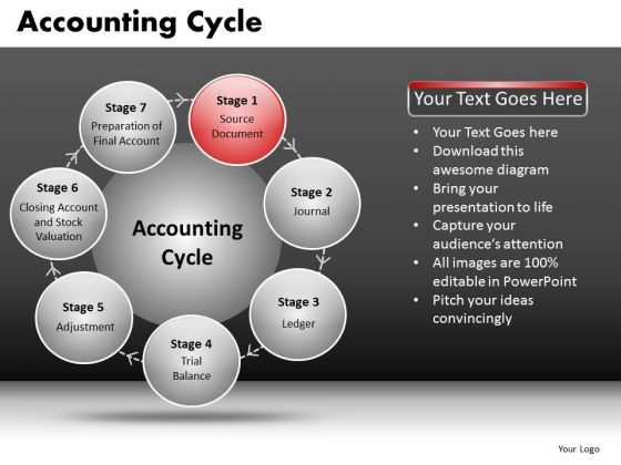 Circle Process Diagram With 7 Stages PowerPoint Slides