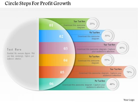 Circle Steps For Profit Growth PowerPoint Template