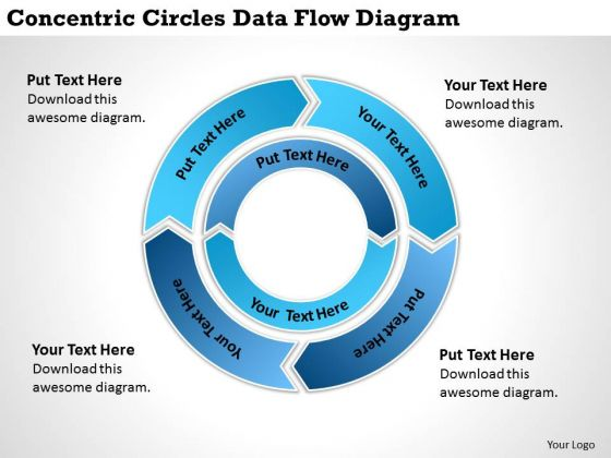 Circles Data Flow Diagram Small Business Administration Plan PowerPoint Templates