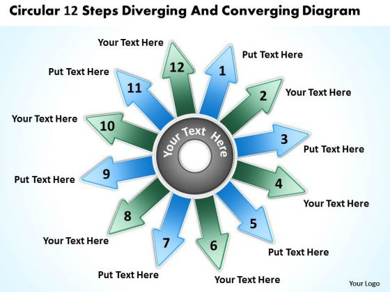 Circular 12 Steps Diverging And Converging Diagram Ppt Process PowerPoint Slides