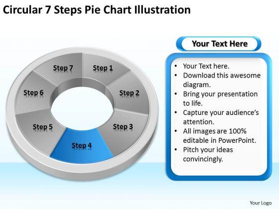 Circular 7 Steps Pie Chart Illustration Business Plan Template PowerPoint Slides