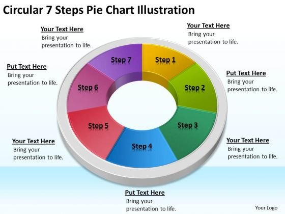 Circular 7 Steps Pie Chart Illustration Cleaning Company Business Plan PowerPoint Templates