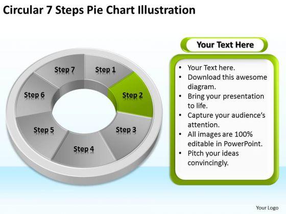 Circular 7 Steps Pie Chart Illustration Elements Business Plan PowerPoint Templates