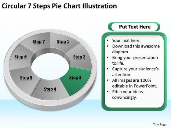 Circular 7 Steps Pie Chart Illustration How Do Make Business Plan PowerPoint Templates