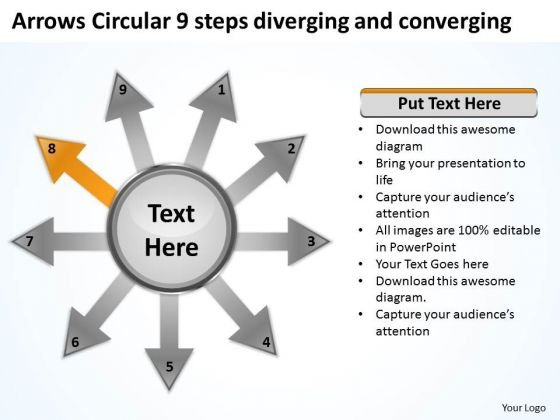 Circular 9 Steps Diverging And Converging Ppt Relative Cycle Arrow Diagram PowerPoint Templates