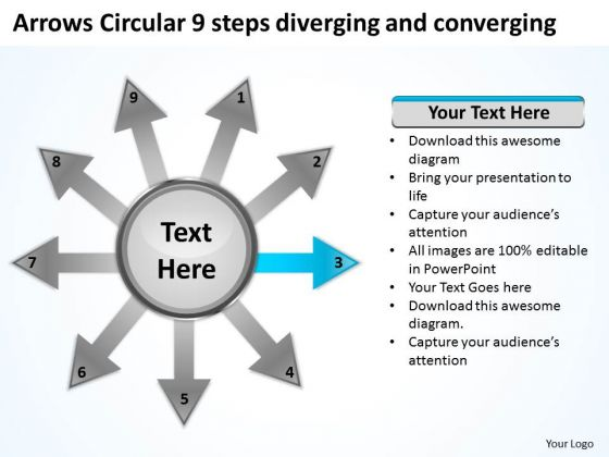 Circular 9 Steps Diverging And Converging Process Diagram PowerPoint Templates