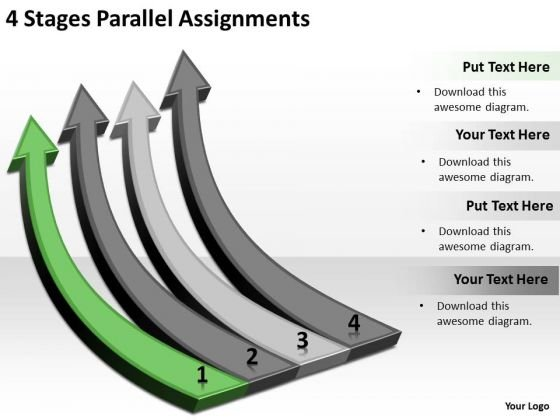 Circular Arrow In PowerPoint 4 Stages Parallel Assignments Slides