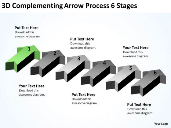 Circular Arrow PowerPoint 3d Complementing Process 6 Stages Templates