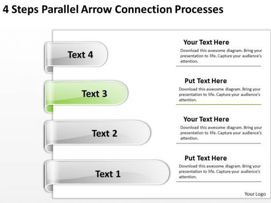 Circular Arrow PowerPoint 4 Steps Parallel Connection Processes Slides