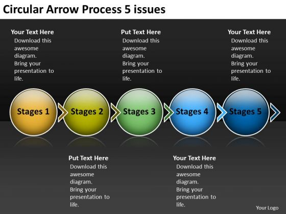 Circular Arrow Process 5 Issues Best Flow Chart PowerPoint Slides