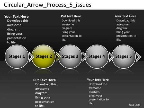 Circular Arrow Process 5 Issues Proto Typing PowerPoint Slides
