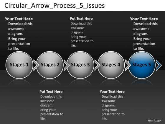 Circular Arrow Process 5 Issues Support Flow Chart PowerPoint Slides