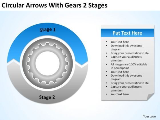 Circular Arrows With Gears 2 Stages Business Plans For Sale PowerPoint Slides