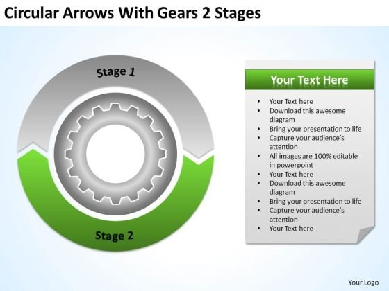 Circular Arrows With Gears 2 Stages Ppt Liquor Store Business Plan PowerPoint Slides