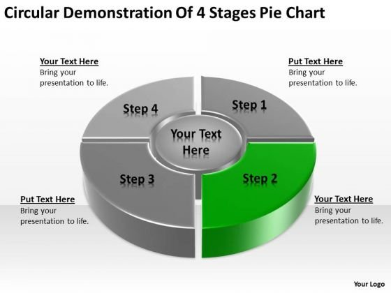Circular Demonstration Of 4 Stages Pie Chart Ppt Business Plans PowerPoint Slides