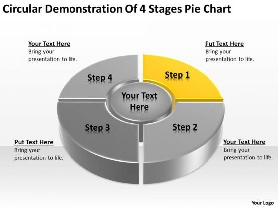 Circular Demonstration Of 4 Stages Pie Chart Ppt Sales Plan PowerPoint Templates