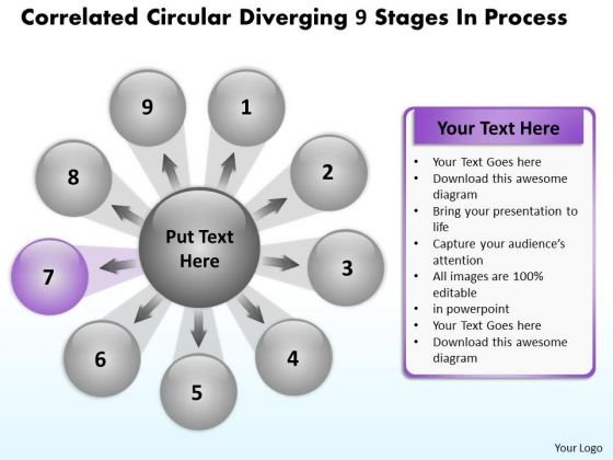 Circular Diverging 9 Stages Process Flow Network PowerPoint Slides