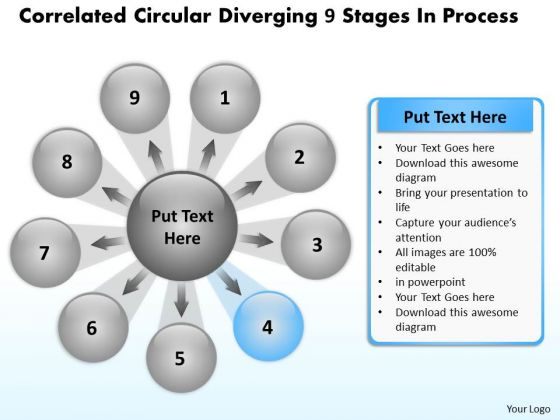 Circular Diverging 9 Stages Process Relative Arrow Chart PowerPoint Slides
