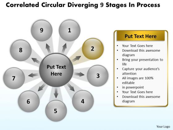 Circular Diverging 9 Stages Process Relative Arrow PowerPoint Slides
