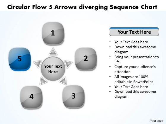 Circular Flow 5 Arrows Diverging Sequence Chart Charts And PowerPoint Templates