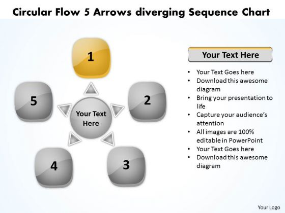 Circular Flow 5 Arrows Diverging Sequence Chart Cycle Process PowerPoint Slides