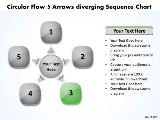 Circular Flow 5 Arrows Diverging Sequence Chart Gear Process PowerPoint Templates