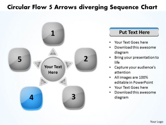 Circular Flow 5 Arrows Diverging Sequence Chart Ppt Processs And PowerPoint Slides