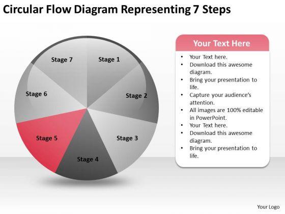 Circular Flow Diagram Representing 7 Steps Business Plan PowerPoint Slides