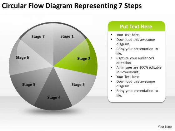 Circular Flow Diagram Representing 7 Steps Small Business Plan Example PowerPoint Templates