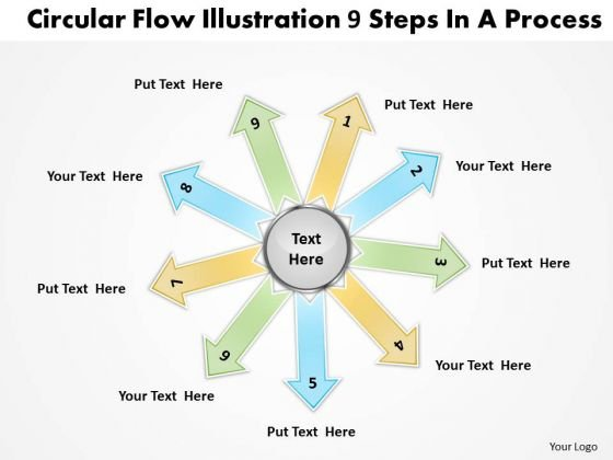 Circular Flow Illustrate 9 Steps In Process Cycle Chart PowerPoint Slides