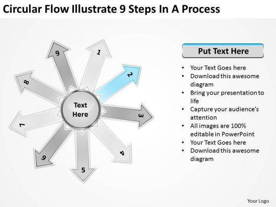Circular Flow Illustrate 9 Steps In Process Layout Diagram PowerPoint Slides