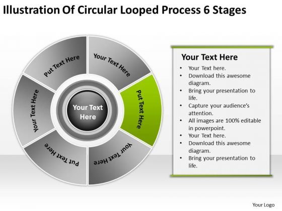 Circular Looped Process 6 Stages Business Plan Example PowerPoint Slides