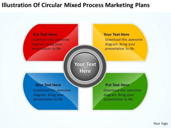 Circular Mixed Process Marketing Plans Basic Business Template PowerPoint Templates
