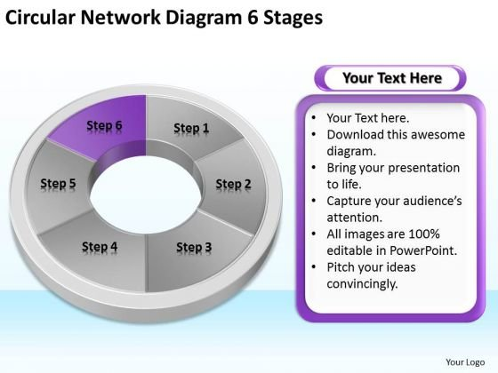 Circular Network Diagram 6 Stages Business Plan PowerPoint Slides
