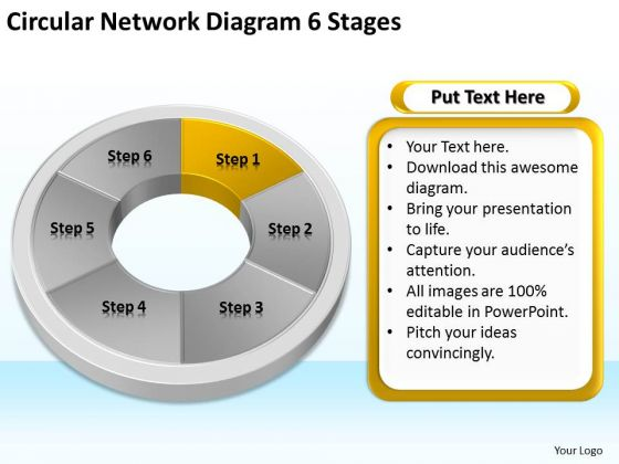 Circular Network Diagram 6 Stages Business Plans That PowerPoint Slides