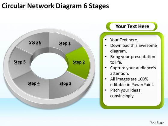 Circular Network Diagram 6 Stages Sales Business Plan Outline PowerPoint Slides