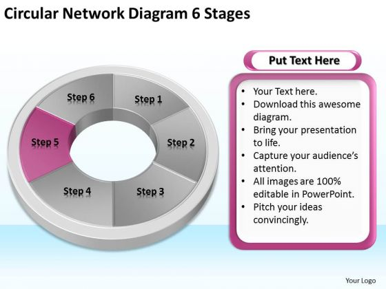 Circular Network Diagram 6 Stages Step By Business Plan Template PowerPoint Slides
