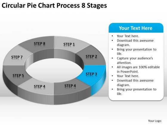 Circular Pie Chart Process 8 Stages Business Plan Forms PowerPoint Slides