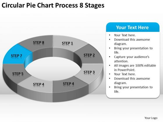 Circular Pie Chart Process 8 Stages Business Plan Template PowerPoint Templates
