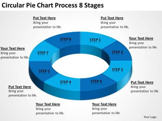 Circular Pie Chart Process 8 Stages Online Business Plan PowerPoint Templates