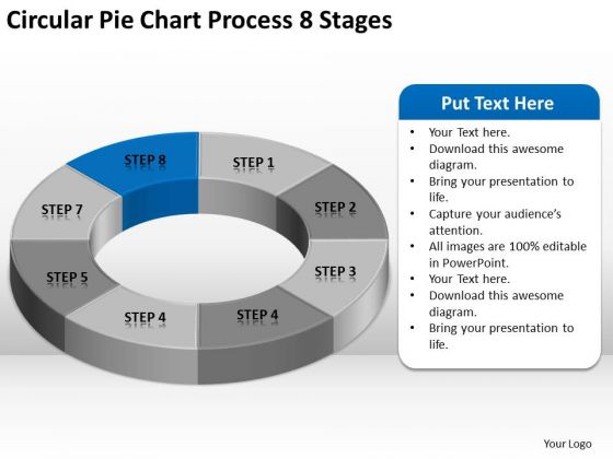 Circular Pie Chart Process 8 Stages Ppt Business Plan Financials PowerPoint Slides