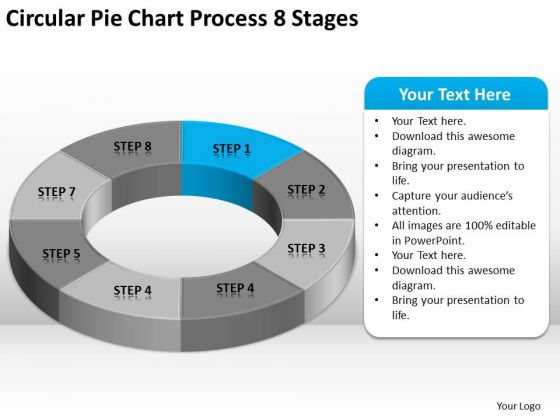 Circular Pie Chart Process 8 Stages Sample Nonprofit Business Plan PowerPoint Slides
