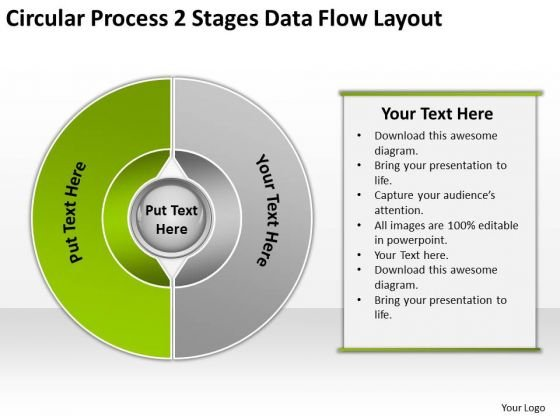 Circular Process 2 Stages Data Flow Layout Market Plan Example PowerPoint Slides