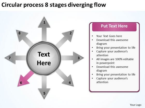 Circular Process 8 Stages Diverging Flow Arrow Network PowerPoint Templates