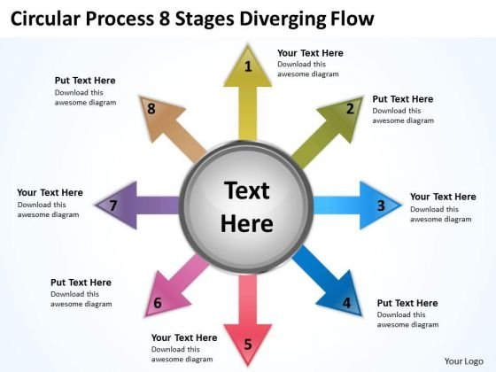 Circular Process 8 Stages Diverging Flow Cycle Chart PowerPoint Slides
