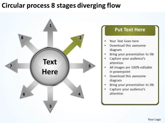 Circular Process 8 Stages Diverging Flow Layout Chart PowerPoint Slides