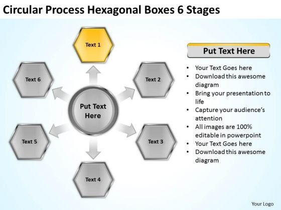 Circular Process Hexagonal Boxes 6 Stages Business Plan Examples PowerPoint Slides
