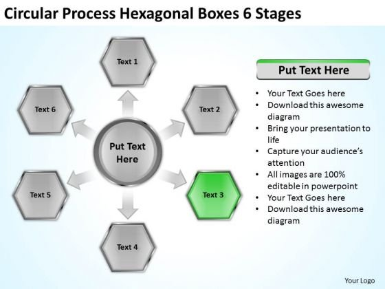 Circular Process Hexagonal Boxes 6 Stages Business Plan PowerPoint Slides
